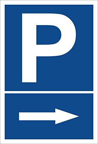Schild - Pfeil nach rechts - Parkplatzschild Parken - 15x20cm, 30x20cm und 45x30cm - Bohrlöcher Aufkleber Hartschaum Aluverbund -S00273