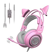 SOMIC G951s Pink Gaming Headset with Mic for PS4, Xbox One, PC, Mobile Phone, 3.5MM Sound Detachable Cat Ear Headphones Lightweight Self-Adjusting Over Ear Headphones for Women - Kulaklık