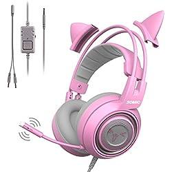 SOMIC G951S Auriculares rosa para juegos con micrófono, Auricular rosa oreja de gato con 3.5mm con cable para Xbox One, Nintendo Switch, PS4, iPhone, iPad