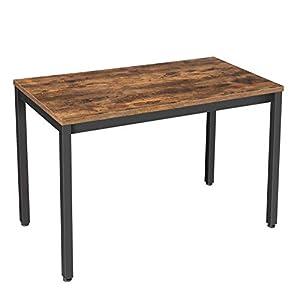 VASAGLE Computertisch im Industrie-Design, Schreibtisch, stabiles Metallgestell, multifunktional, fürs Home Office, Wohnzimmer, Arbeitszimmer, robust, Vintage, dunkelbraun LWD64X