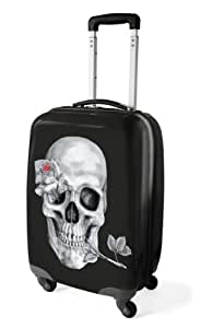 Medium Skull Rose Print Travel 4 Spin Wheel Luggage Trolley Hard Shell Suitcase