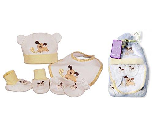 Coffret Cadeau de naissance nouveau né bébé bonnet bavoir chaussons gants Baby-Bow thème Chien