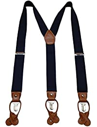 Navaksha Nevy Blue Y-Back Suspender with Convertible Clip and Button End