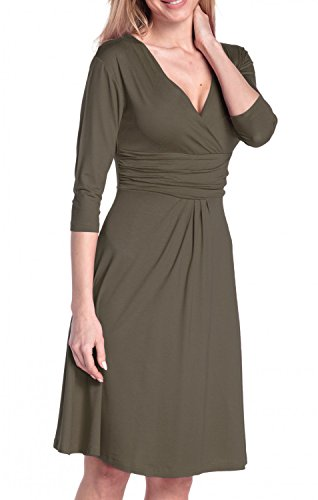 Glamour Empire Damen Kleid Tiefer V-Ausschnitt Sommerkleid Cocktailkleid 282 Khaki