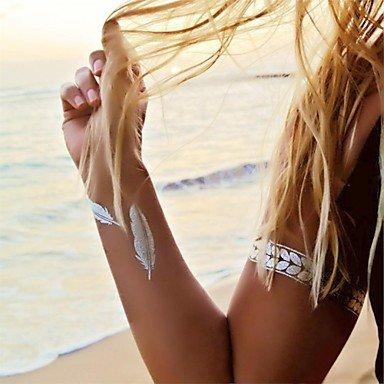 OOFAYZBL® 1pcs gioielli modello braccialetto foglia ispirato adesivi oro e d'argento del tatuaggio metallici tatuaggi temporanei