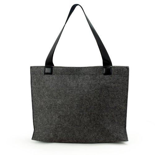 Lavievert , Sac du shopping ,gris gros feutre Sac à la main, poches petites à l'intérieur, simple mais à la mode, écologique