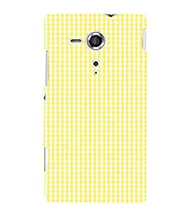 Yellow Checks Pattern 3D Hard Polycarbonate Designer Back Case Cover for Sony Xperia SP :: Sony Xperia SP M35h