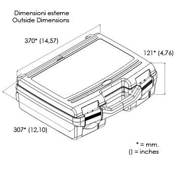 Kunststoffkoffer leer in transparent, Außenmaß: 370x307x121 mm - 2