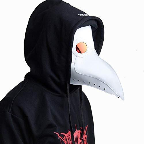 Up Dress Burlesque Kostüm - QAZXS Schnabelmaske Punk Punk Schwarz Gesichtsmaske Weiße Ledermaske White