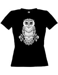 Ethno Designs Streetwear - Black & White Owl - Hibou T-Shirt pour Femmes - Loisirs et Fête Shirt - slim fit