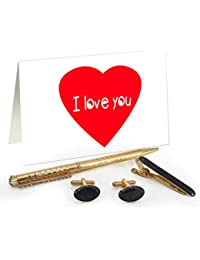 TiedRibbons® Valentines Day Gifts For Boys Golden Cufflinks,Tiepin And Pen Combo Set With Valentine's Special...