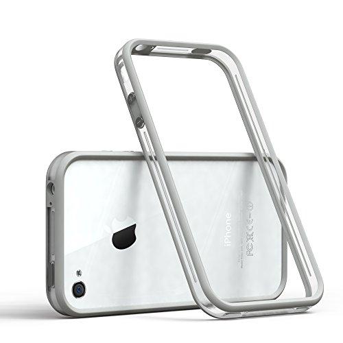 EAZY CASE Bumper für iPhone 4 / iPhone 4S Silikon Bumper für Apple iPhone 4 / iPhone 4S - Flexible Schutzhülle ALS Rahmenschutz in Hellgrau
