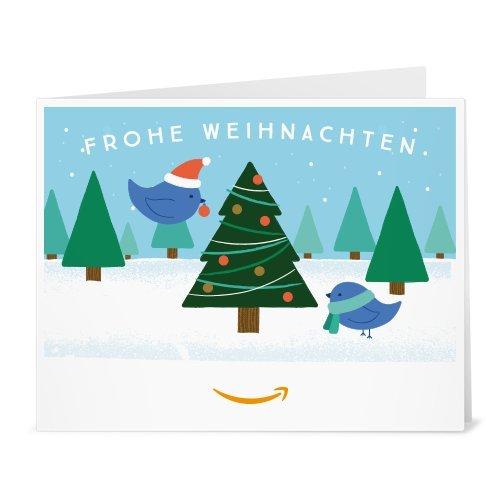 Amazon.de Gutschein zum Drucken (Vögel und Weihnachtsbaum)