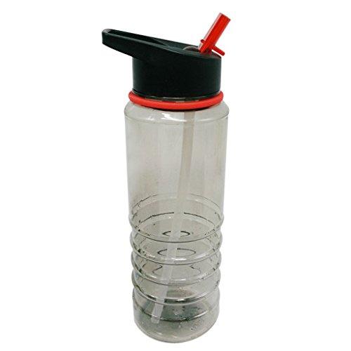 800ml Bpa-frei Plastik Wasserflasche Tasse Flip Sport Stroh-Flasche Für Sport mit Strohhalme - Rot (Sport Stroh Flasche)