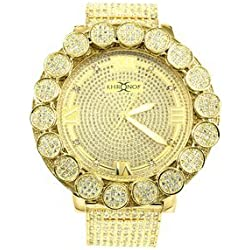 Diamond & Co. Herren Gold Finish big flower Lünette Echter Diamant Khronos Joe Rodeo Diamant Armbanduhr Gelb, Weiß