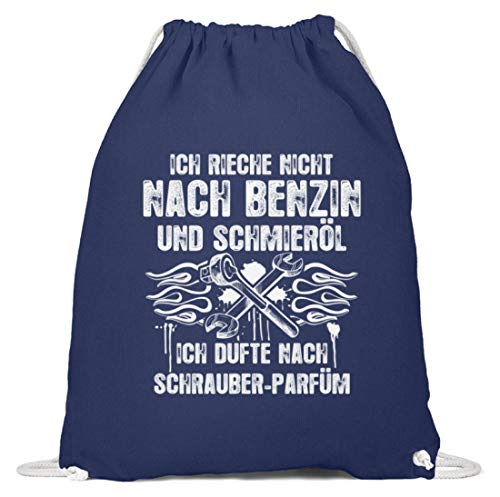 shirt-o-magic Mechaniker: Schrauber-Parfüm - Baumwoll Gymsac -37cm-46cm-Marineblau -