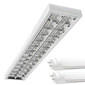 PureLed LED Rasterleuchten mit 2X T8 LED 120cm 18W kaltweiß 6500K G13 Bürolampe