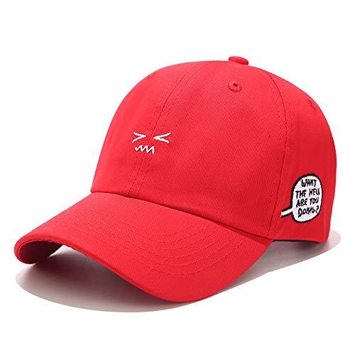 zhuzhuwen Koreas Neuer süßer Ausdruck Hut Seite Buchstaben Stickerei Baseball Cap weiche Schwester Mädchen Wild Pink Cap 3 56-62cm