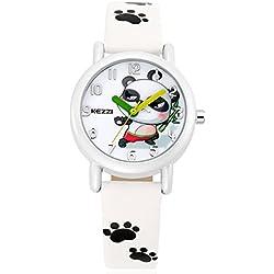Cute Cartoon Panda Leather Strap Quartz Children Girl Wrist Watch,White