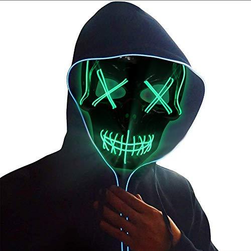 Ankuka LED Maske Purge Maske mit 3 Blitzmodi für Halloween Fasching Karneval Party Kostüm Cosplay Dekoration, (Männer Tragen Damen Kostüm)