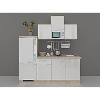Single küchenzeile valencia 210 cm hochglänzend weiss sonoma eiche inkl e geräte und spüle