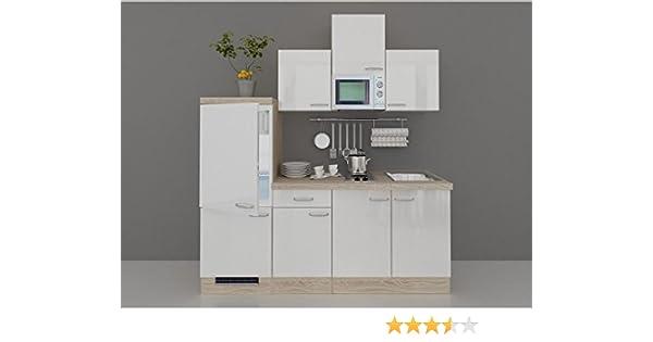 Single küchenzeile valencia 210 cm hochglänzend weiss sonoma eiche inkl e geräte und spüle amazon de küche haushalt