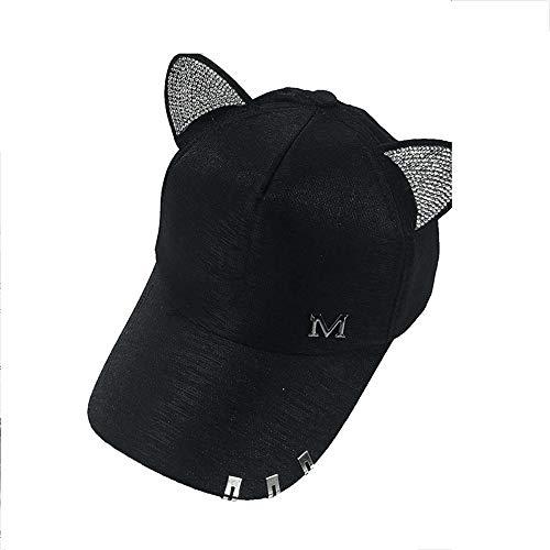 en Sommer Fallen Schwarz Weiß Rosa Hut Katze Ohren Katze Baseballmütze Mit Ringen Und Spitze Diamant Niedlichen Mädchen Hut ()