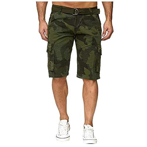 Cargo Shorts Herren Chino Kurze Hose Sommer Bermuda Sport Jogging Training Stretch Shorts Fitness Vintage Regular Qmber,Tarnwerkzeuge mit Mehreren Taschen/AG,32 -