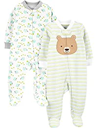 Simple Joys by Carter's Neutral 2-Pack Cotton Footed Sleep and Play - Infant-and-Toddler-Bodysuit-Footies Unisex bebé