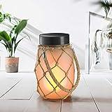 Auraglow Lanterna Lampada Luce da Tavolo con Vaso in Vetro LED USB & a Energia Solare da Interno & Esterno con Fiamma Fuoco Tremolante