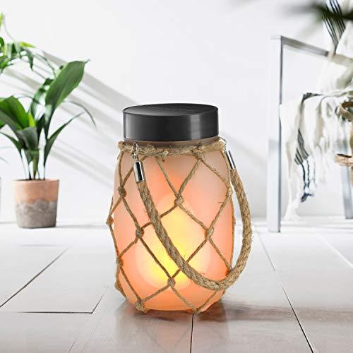 Auraglow Lanterna Lampada Luce da Tavolo con Vaso in Vetro LED USB & a Energia Solare da Interno & Esterno con Fiamma Fuoco Tremolant