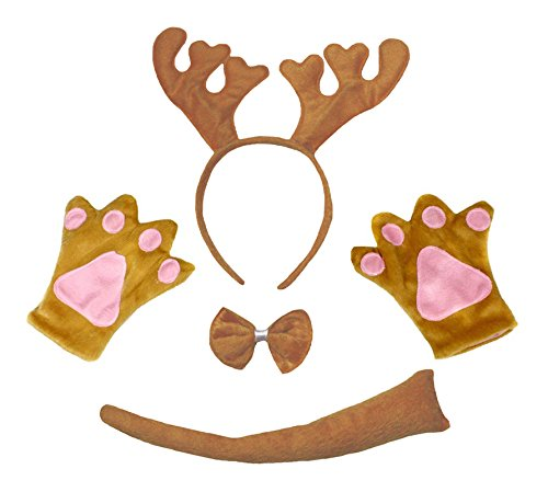 Petitebelle Brown Reindeer Xmas Headband Bowtie Tail Gloves Children 4pc Costume (One Size) (Ren Fest Kostüm)