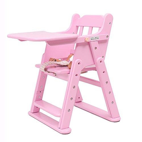 XRXY Kinder-fester hölzerner Schemel / Baby-Multifunktionsspeisestühle / zusammenklappbarer Baby-Stuhl 63 ~ 81 Cm ( Farbe : Pink )