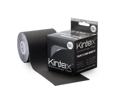 Kintex Kinesiologie Tape 7,5cm x 5m Schwarz, Kinesiologie-Tape extra-breit, Physio-Tape, elastisch, wasserfest