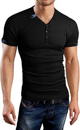 AIYINO Herren Casual Cardigan T-Shirt mit V-Ausschnitt (X-Large, Schwarz) (X-large T-shirt)