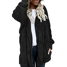 OverDose abrigos de mujer abrigo largo de piel sintética con capucha M-XXXL