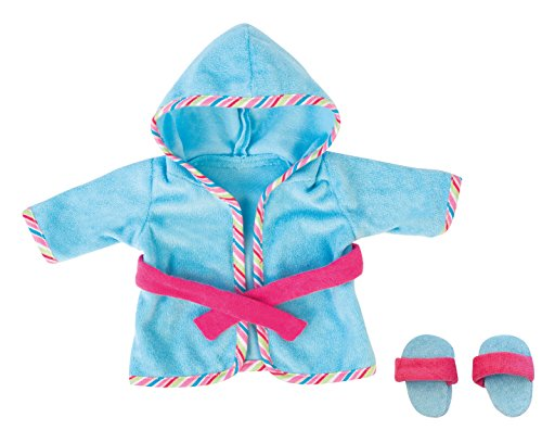 Bayer Design 8307300 - Bademantel mit Schlappen für Puppen, circa 28 - 33 cm, blau