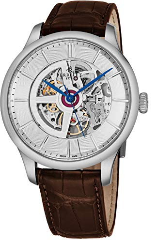 Perrelet Men's 42mm Alligator Leather Band Steel Case Automatic Watch A1091-1