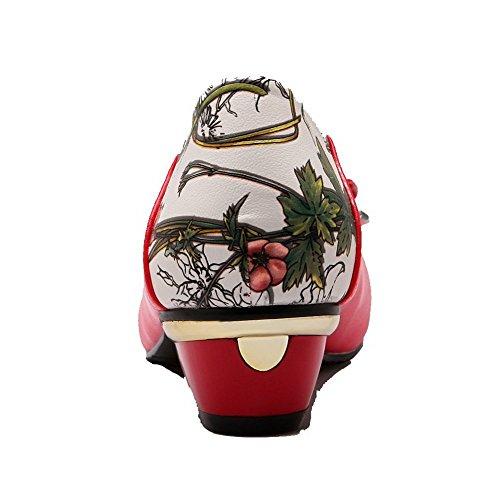 VogueZone009 Donna Luccichio Tacco Basso Punta Chiusa Punta Tonda Colore Assortito Tirare Ballerine Rosso