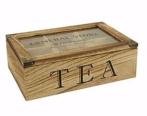 Bois naturel Thé Boîte de rangement/boîte à thé/thé Coffre Boîte de présentation–6compartiments avec couvercle transparent à charnière–rustique/vintage/Shabby chic style