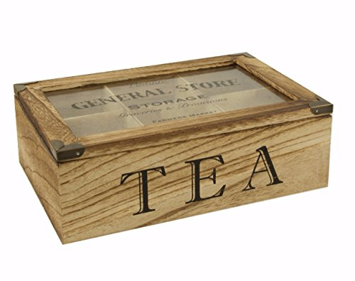 Legno naturale tea storage box/tea caddy/tea bag petto display box–6vano con coperchio incernierato trasparente–rustico/vintage/shabby chic style