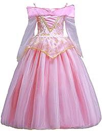 ELSA & ANNA® Princesa Disfraz Traje Parte Las Niñas Vestido Sleeping Beauty Vestido Aurora Vestido (Girls Princess Fancy Dress) ES-SLP01 (3-4 Años, Rosado)