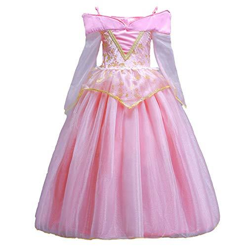 ELSA & ANNA® Ragazze Principessa Abiti Partito Vestito Sleeping Beauty Aurora Vestito Costume IT-SLP01 (6-7 Anni, Rosa)