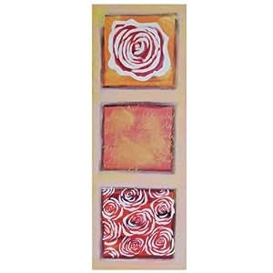 Promobo - Toile Tableau Cadre Peint Main Nature Zen Rose Rouge Passion 70x25cm