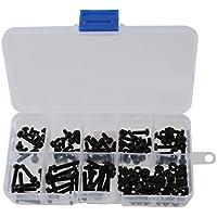 160x M3 Kit de Tornillo Tuerca con Arandela de Nylon Hexagonales en Caja Negra