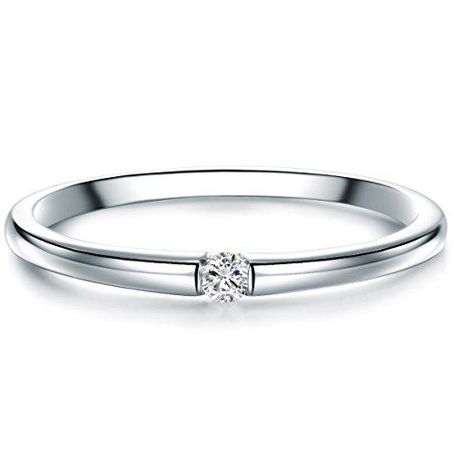 Tresor 1934 Bague Solitaire Femme Argent fin 925 / 1000 Diamant blanc taille brillant 0,05 Carat - Bague de fiançailles Bague en diamant Solitaire Bague de fiançailles Brillant