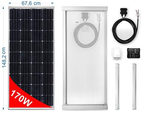 Solarmodul 12v 170w MONOKRISTALLIN für Wohnmobil. Kit komplett mit Zubehör für die Montage und-Regler 10 A