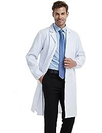 BSTT Hombre Bata de Laboratorio Blanco Uniformes de Trabajo Mejora