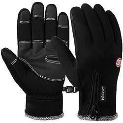 Vbiger Impermeables Pantallas Táctiles Guantes de Invierno Mitones Cálidos Guantes de Deportes para Hombres y Mujeres (Negro, XL)
