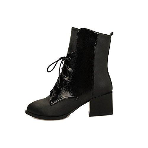 AllhqFashion Damen Rund Zehe Mittler Absatz Gemischte Farbe Stiefel mit Knoten, Weiß, 39